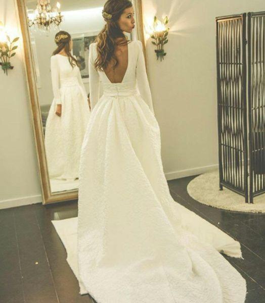 Long Sleeves Open Back Simple Free Custom Handmade Wedding Dress