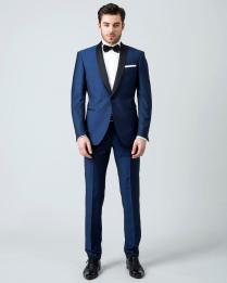 Men Suits Blue Wedding Suits For Men Black Shawl Lapel Tuxedos For