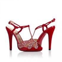 Red Ultra High Heel Wedding Shoes With Rhinestoneswedwebtalks
