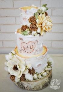 Rustic Birch Wood Log Wedding Cake With Dried Flowers