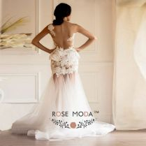 Sheer Back Lace Mermaid Wedding Dress With Detachable Puffy Tulle