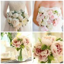 2016 Hot 5 Head Bouquet Vintage Artificial Peony Silk Flower Home