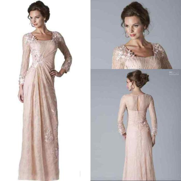 2016 New Blush Pink Lace Mother Of The Bride Dresses Long Sleeves