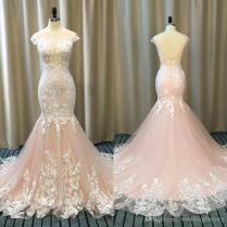 2018 Spring Blush Pink Mermaid Wedding Dresses Sheer Bateau Neck
