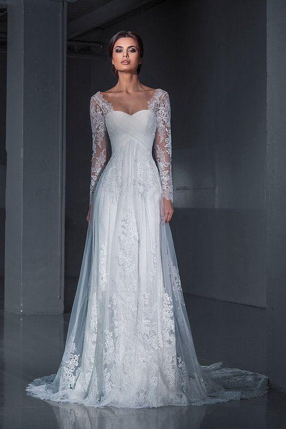 Lace Wedding Dress Wedding Dress Long Sleeves By Autumnsilkbridal