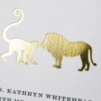 Zoo Animal Wedding Invitations In Gold Foil
