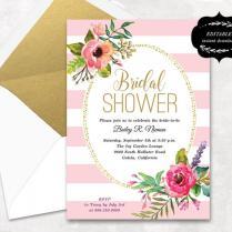 Blush Pink Floral Bridal Shower Invitation Template, Printable