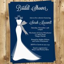Bridal Shower Invitations, Wedding Gown, Navy, Blue, White, Dress