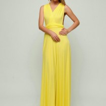 Bright Yellow Long Infinity Dresses Convertible Dress Convertible