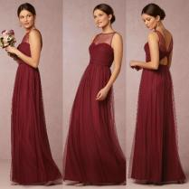 Burgundy Floor Length Bridemaid Dresses Sheer A Line Tulle Maid Of
