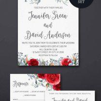Printable Wedding Invitation, Winter Floral Wedding Invitation