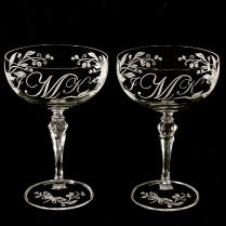 2 Personalized Dragonfly Champagne Coupes, Vintage