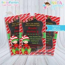 Elf Invitations Girl Christmas Party Invitation Xmas Elf Girl