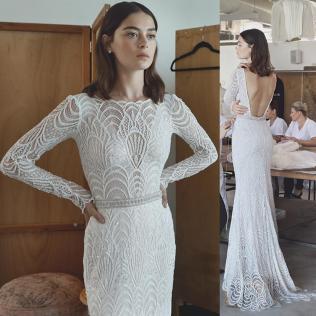 Long Sleeve Lace Wedding Dresses Real Photo Sheath Illusion Full