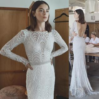 Long Sleeve Lace Wedding Dresses Real Photo Sheath Illusion Full