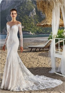Long Sleeves Sweetheart Off Shoulder Lace Sheath Wedding Dress