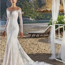 Long Sleeves Sweetheart Off Shoulder Lace Sheath Wedding Dress