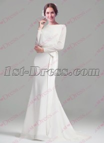 Modest Long Sleeves Sheath Wedding Dresses 2016 1st