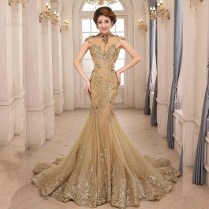 Gorgeous High Neck Appliques Backless Gold Mermaid Evening Gown