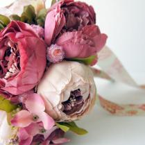 Peony Bridal Bouquet, Shades Of Pink , Silk Wedding Flowers