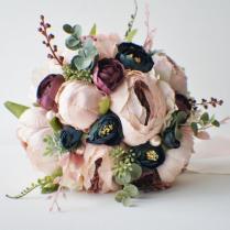 Peony Bridal Bouquet, Silk Wedding Flowers, Blush Wedding Flowers