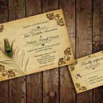 Printable Peacock Wedding Invitation Suite With Rsvp Cards