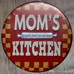 Mom's Kitchen Round Retro Embossed Tin Sign Poster Wall Bar