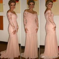 Long Sleeves Mother Of The Bride Dresses 2018 Coral Off The