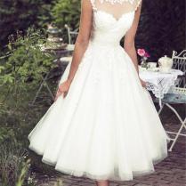 Discount Lace Tea Length Beach Wedding Dresses 2019 Vintage Sheer