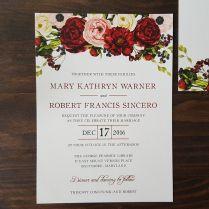 Red Rose Wedding Invitations Floral Wedding Invitation Rose
