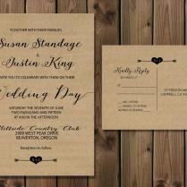 Rustic Kraft Wedding Invitation Suite, Minimalist Wedding, Kraft
