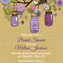 Vintage Mason Jar Invitations Purple Green Invitation Mason Jars