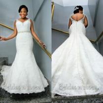 Vintage Mermaid Lace Plus Size Wedding Dresses 2015 V