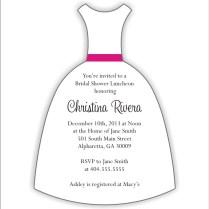 Wedding Dress Die Cut Bridal Shower Invitation Personalized Party
