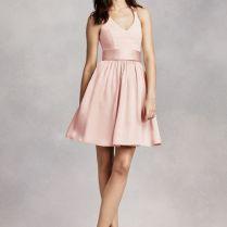 Crepe White By Vera Wang Short Halter Bridesmaid Dress