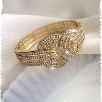 1920s Art Deco Great Gatsby Inspired Bridal Crystal Gold Bangle