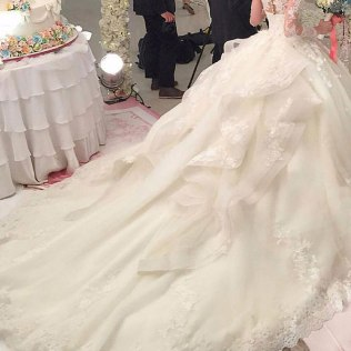 Wedding Gown With Royal Train Scoop Neck Casamento Ball Gown