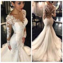 2017 New Gorgeous Lace Mermaid Wedding Dresses Style Petite Long