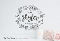 Hand Drawn Style Floral Boutique Logo Design – Boutique Logo