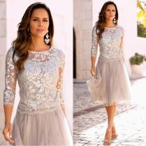 2018 Modest Short Mother Of The Bride Dresses Lace Tulle Knee
