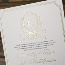 Letterpress Foil Stamped Custom Monogram Wedding Invitations