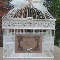 Vintage Style Cream Birdcage Wedding Card Post Box Card Holder