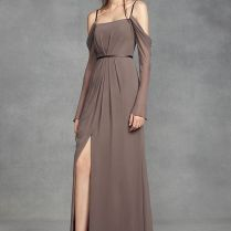 Long Sleeve Cold Shoulder Chiffon Bridesmaid Dress By White By