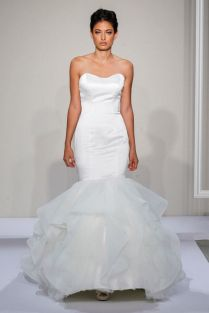 Satin Mermaid Gown With Tulle At The Bottom And Buttons In The