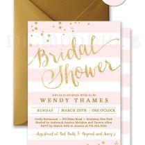 Blush Pink & Gold Bridal Shower Invitation Stripes Printable