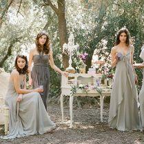 Charcoal And Dove Grey Bridesmaids Vintage Glam Bridesmaid