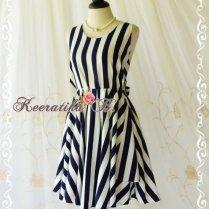 A Party Dress V Shape Navy Off White Stripe Backless Dress Prom