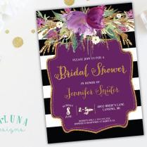 Bridal Shower Invitation, Floral Black & White Stripe Bridal