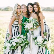 Modern Preppy Wedding In Black, Gold, And Emerald With Mixed