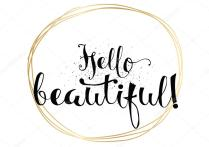 Hello Beautiful Romantic Inscription Greeting Card With